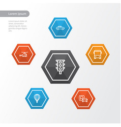 Transport outline icons set collection of vector