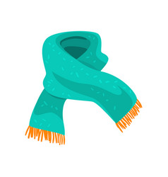Turquoise woolen scarf with orange fringe on the vector