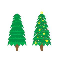two christmas trees christmas tree vector image