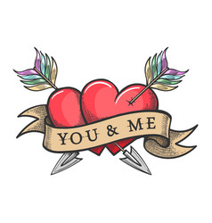Two hearts pierced arrows and ribbon with vector