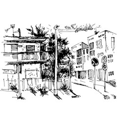 urban landscapes in hand drawn ink line vector image