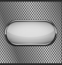 white oval button on metal perforated background vector image