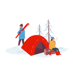 winter camping and relaxing in winter holidays vector image