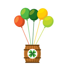 Wooden barrel of beer with bunch balloons ornament vector