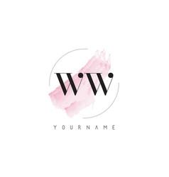 Ww w watercolor letter logo design with circular vector