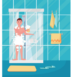 Young man taking shower happy guy washing his vector
