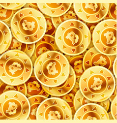 a lot of bright glossy golden coins with bitcoin vector image