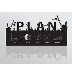 Construction site crane building plan text vector image