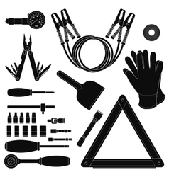Road kit silhouettes set vector