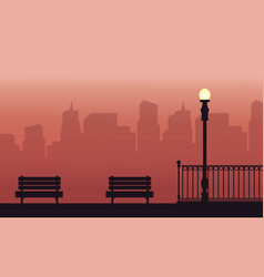 Silhouette of chair with fence beauty landscape vector