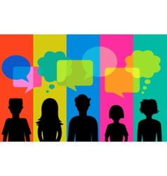 silhouette of young people with speech bubbles vector image vector image