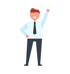 smiling businessman raise his hand up worker ready vector image vector image