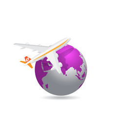 airplane with global background vector image