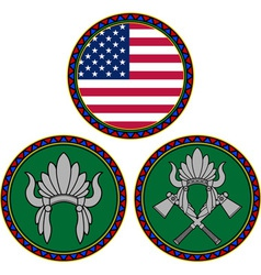 american flag and indian headdress vector image vector image