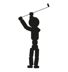 golfer man sign black icon vector image