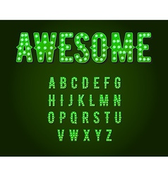 Green neon casino or broadway signs style light vector