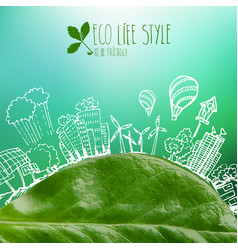 green planet with circle ecology doodles sketched vector image