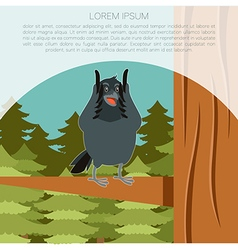 Happy Raven on the Tree winter flat background vector image