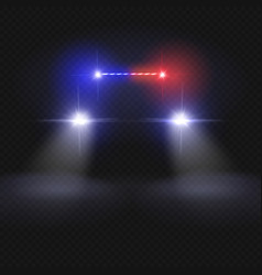 police car headlight beams isolated on dark vector image vector image