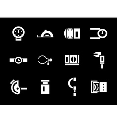 Simple white glyph calibration tools icons vector image vector image