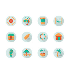 tropical beach vacation round flat icons vector image