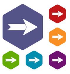 Big arrow icons set vector