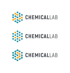 Chemical lab logo template abstract hexagon vector