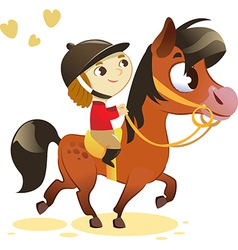 Child Riding Small Horse vector image