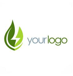 Eco green leaf energy logo vector
