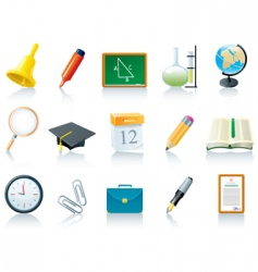 education school icons vector image vector image