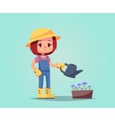 girl woman happy cartoon gardener with watering vector image vector image
