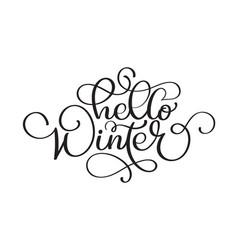 hello winter handlettering inscription christmas vector image
