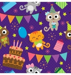 Birthday party pattern with cats vector image