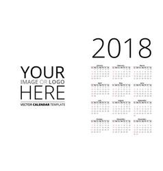 calendar 2018 mockup vector image vector image
