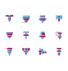 cnc lasers flat design color icons vector image