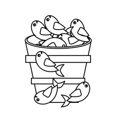 fish pot miracle jesus christ religious outline vector image vector image