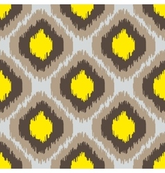 Ikat geometric seamless pattern Yellow and brown vector image