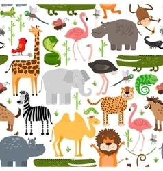 Jungle animals seamless pattern vector image