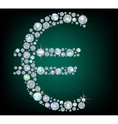 Shiny sign euro vector image vector image