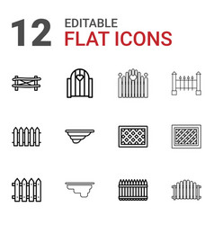 12 picket icons vector image