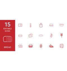 15 bread icons vector