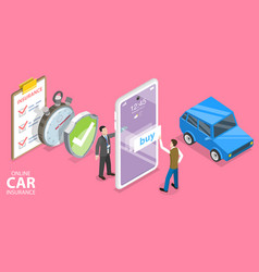 3d isometric flat concept mobile car vector