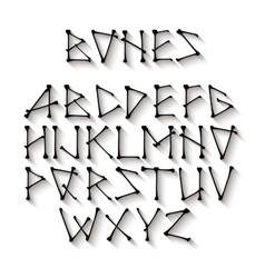 Alphabet made of crossed black bones Black vector image