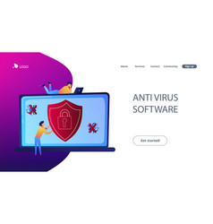 Antivirus software concept landing page vector