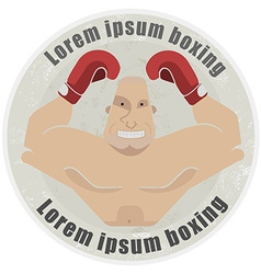 Athletic emblem with torso of heavyweight boxer vector