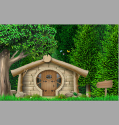Banner hut on edge forest vector