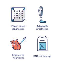 Bioengineering color icons set medical vector