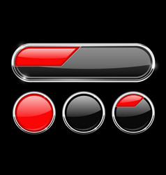 Black and red buttons vector