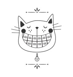 Black line cute laughing orthodontics black cat vector