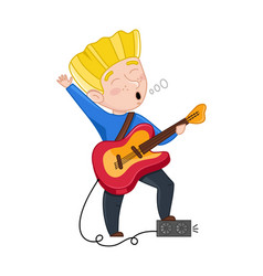 boy sing and playing electric guitar vector image